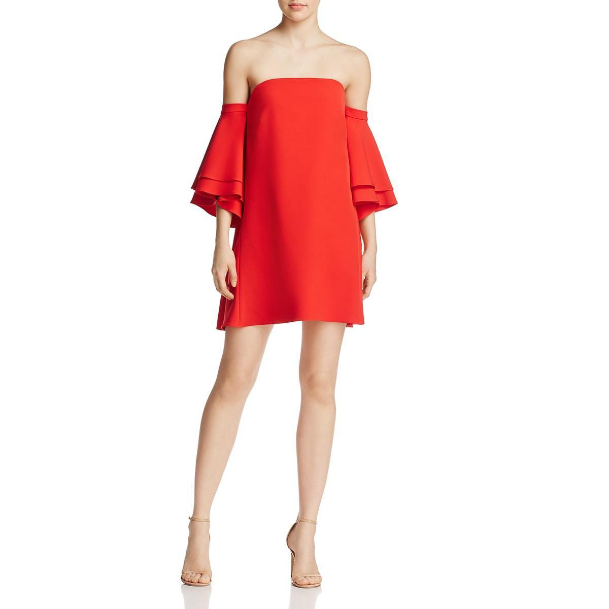 Lyst - Milly Womens Mila Off-the-shoulders Party Cocktail Dress in Red 12d8617690