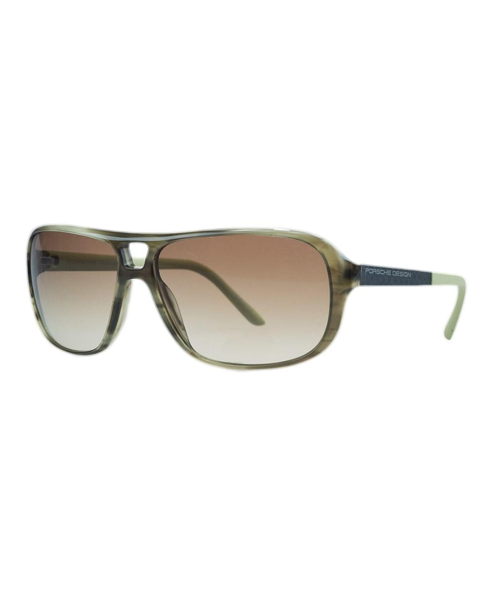 c43b44913bb Lyst - Porsche Design P8557-b Olive Horn Aviator Sunglasses in Green ...