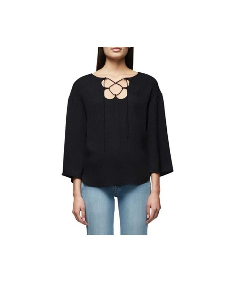 2c94bdebf1 Lyst - Frame Women s Mirrored Lace Up Blouse in Black