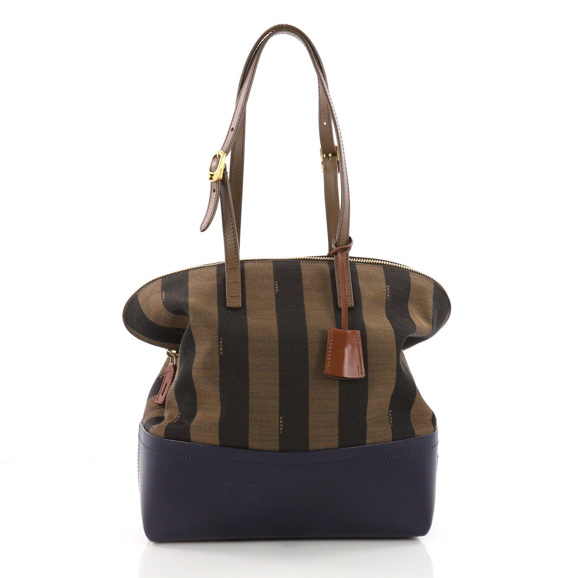 26e6bb1f972b Lyst - Fendi Pre Owned Pequin 2bag Canvas And Leather