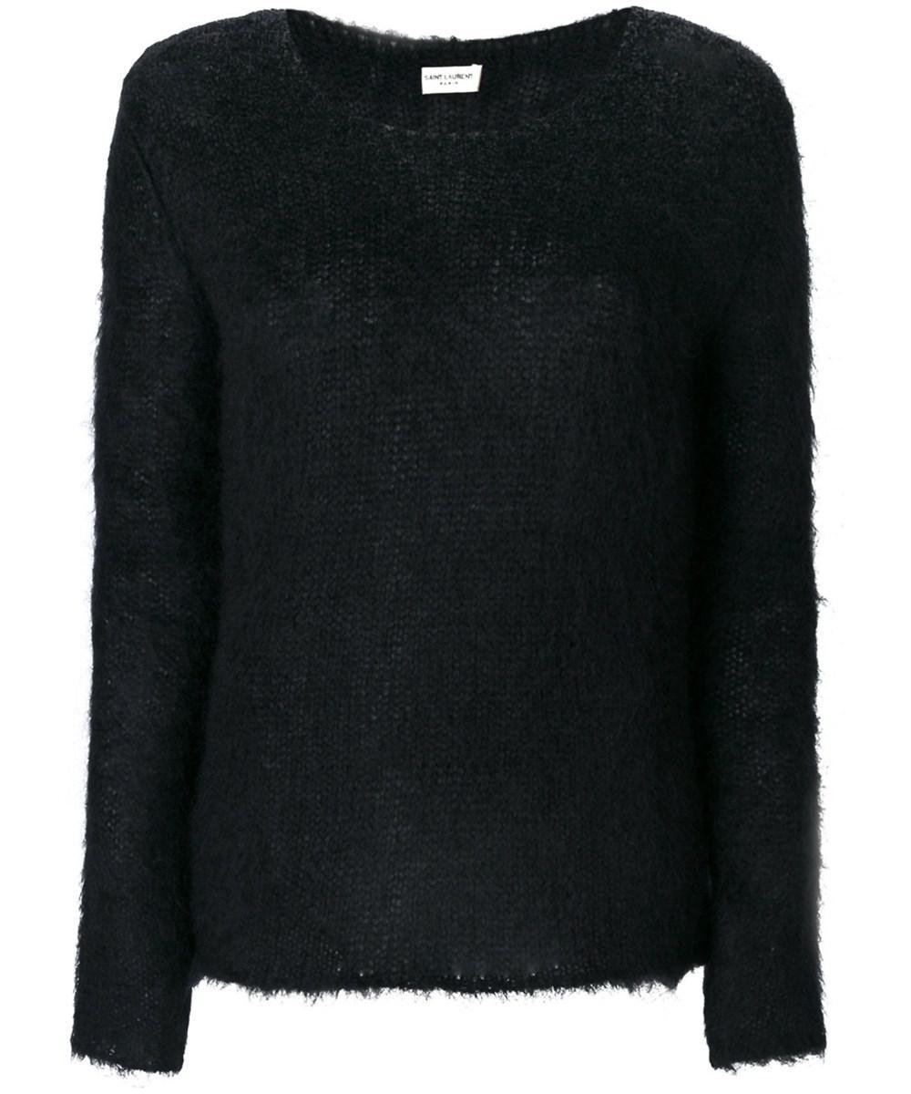 Saint laurent Women's Black Wool Sweater in Black | Lyst