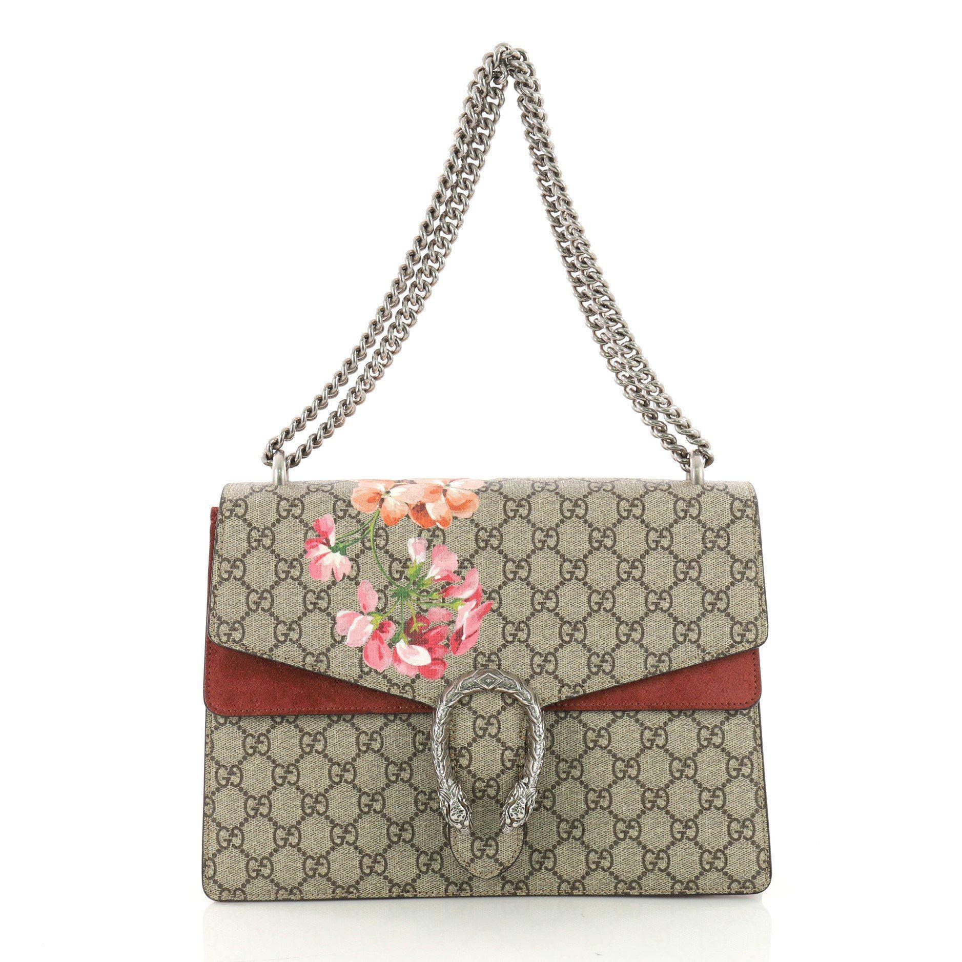 f56cb055aef1ac Lyst - Gucci Pre Owned Dionysus Handbag Blooms Print GG Coated ...