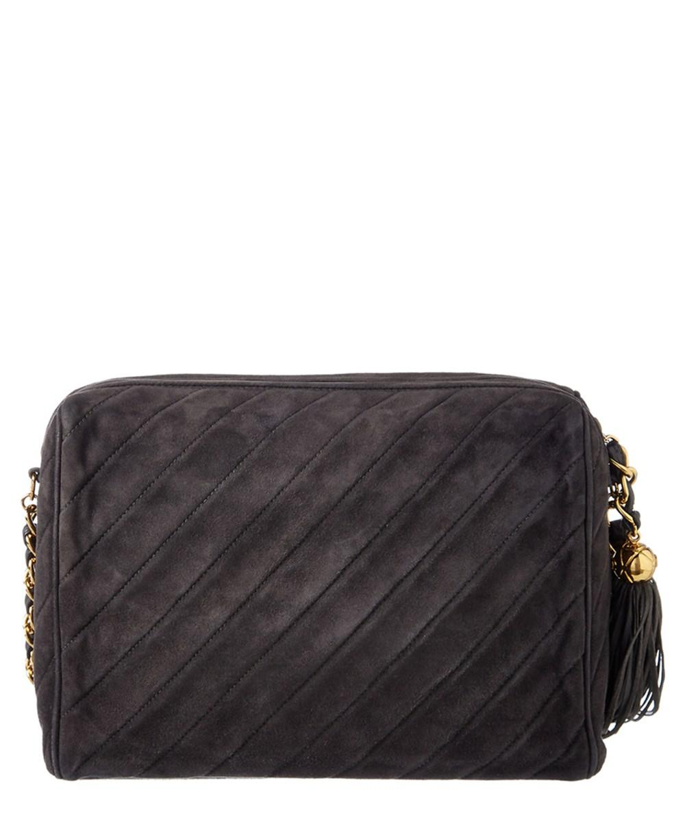 a65be08f72d Chanel - Gray Grey Quilted Suede Medium Diamond Camera Bag - Lyst. View  fullscreen