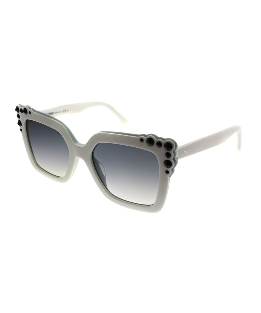 00a842d9 Lyst - Fendi Can Eye Ff0260 0ga White Aqua Square Sunglasses in White