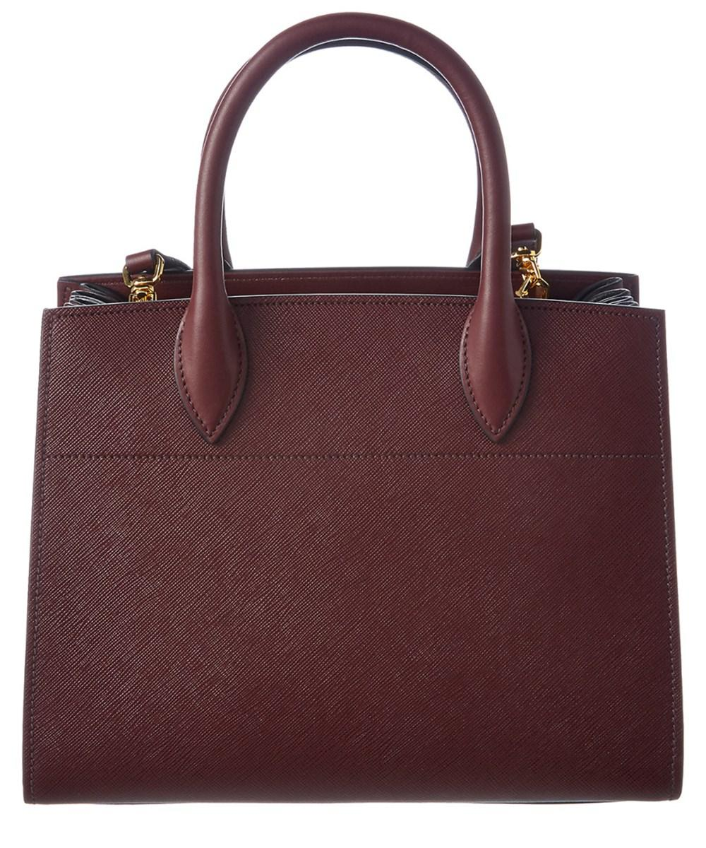 4af93a732625 Lyst - Prada Bibliotheque Saffiano & Calf Leather Double Handle Tote ...