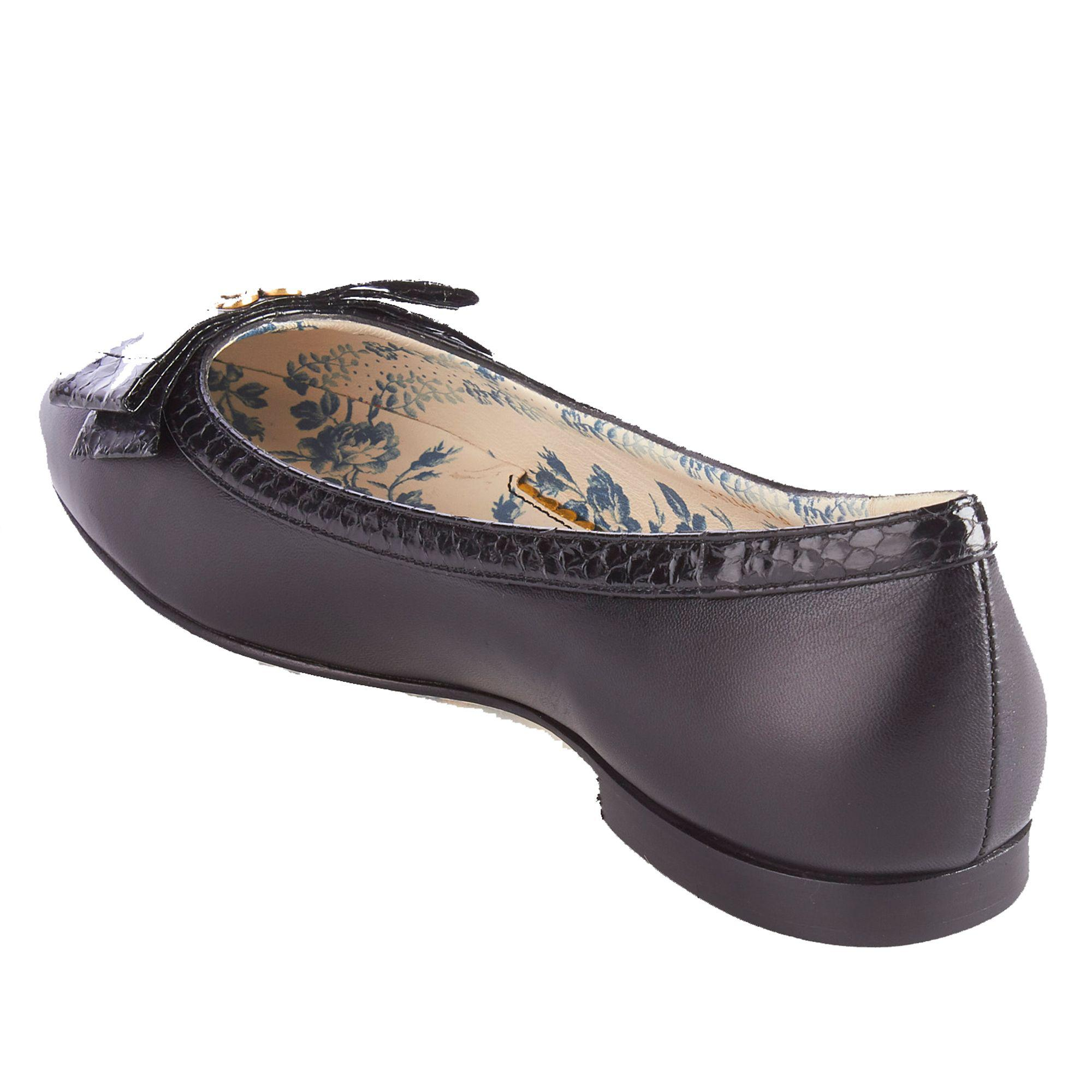 891288496 Gucci - Women s Leather Snakeskin Bow Ballet Flat Shoes Black - Lyst. View  fullscreen