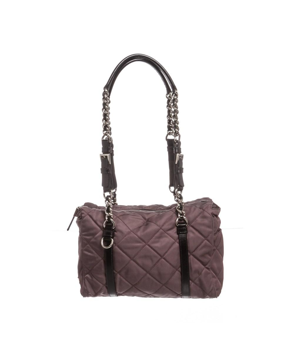 d2a567f28bb8eb ... low price lyst prada plum black nylon quilted tessuto shoulder bag in  purple 79663 92d5b