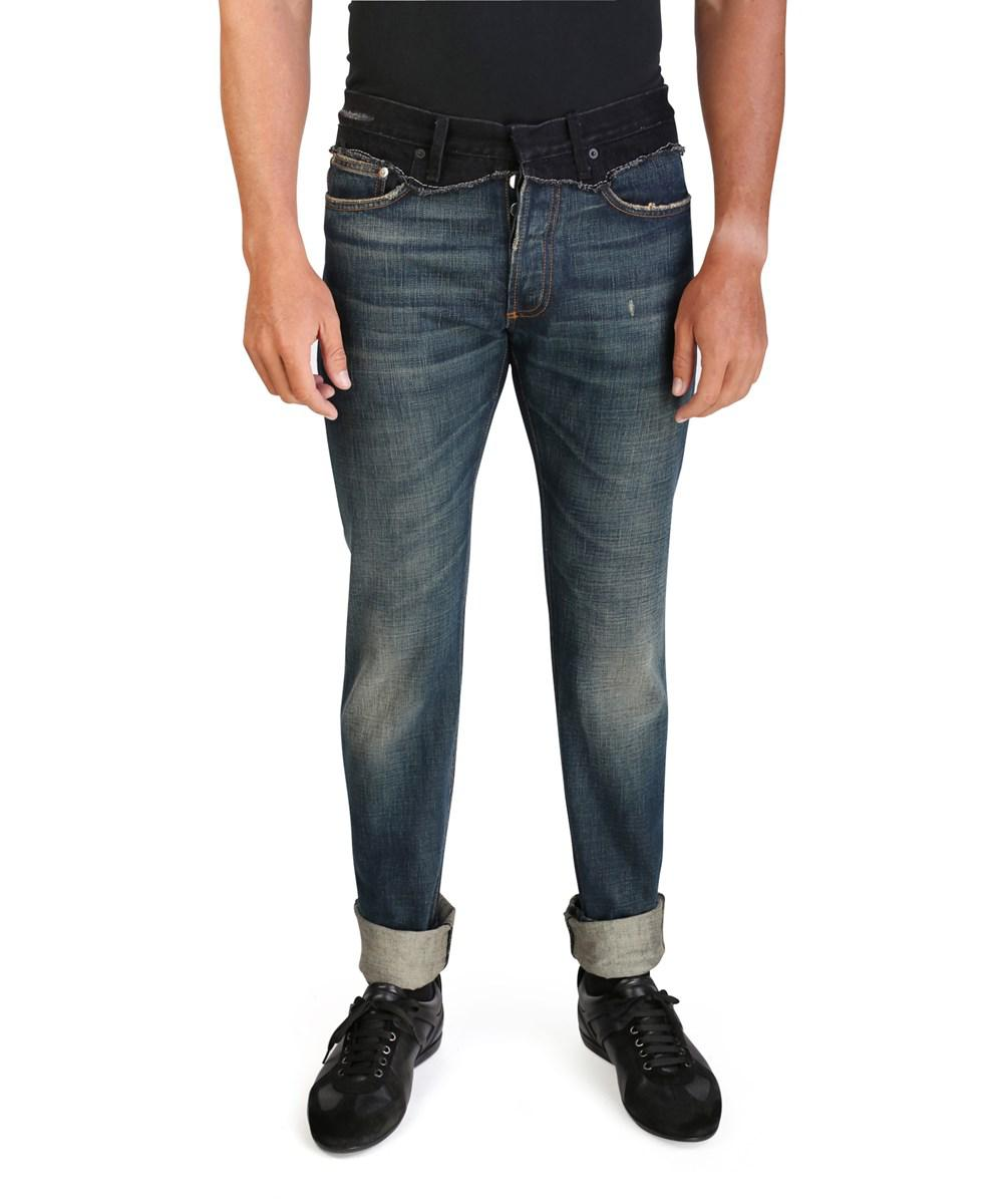 Lyst Dior Homme Mens Slim Fit Cut And Sew Denim Jeans Pants Blue Black