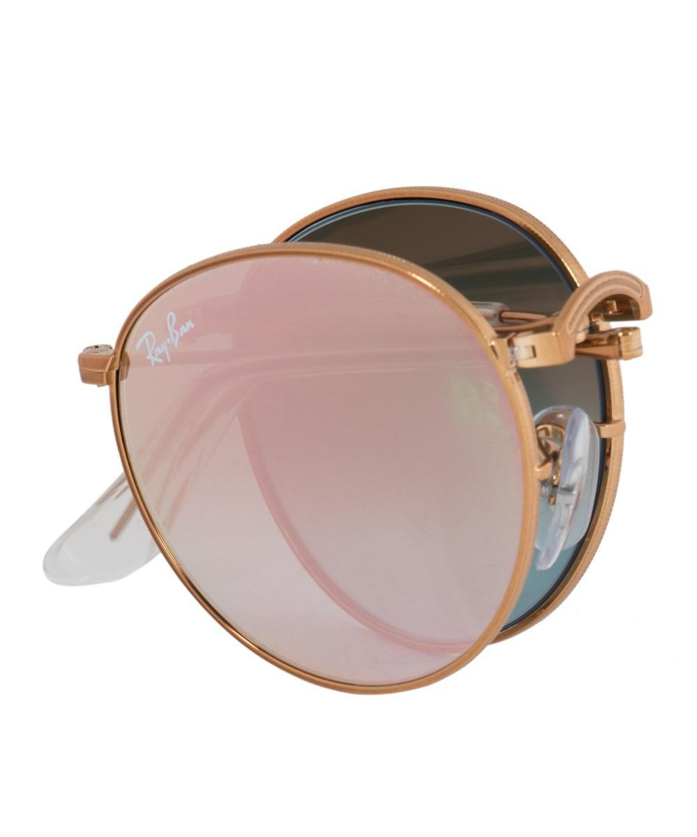 d92f025b9e ... frame pink mirrored lens sunglasses 224c8 323ad  uk lyst ray ban round  folding sunglasses rb3532 1987y 47 bronze ada5d a7d75