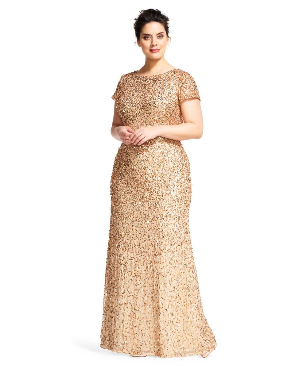 Lyst - Adrianna Papell Scoop Back Sequin Gown in Metallic