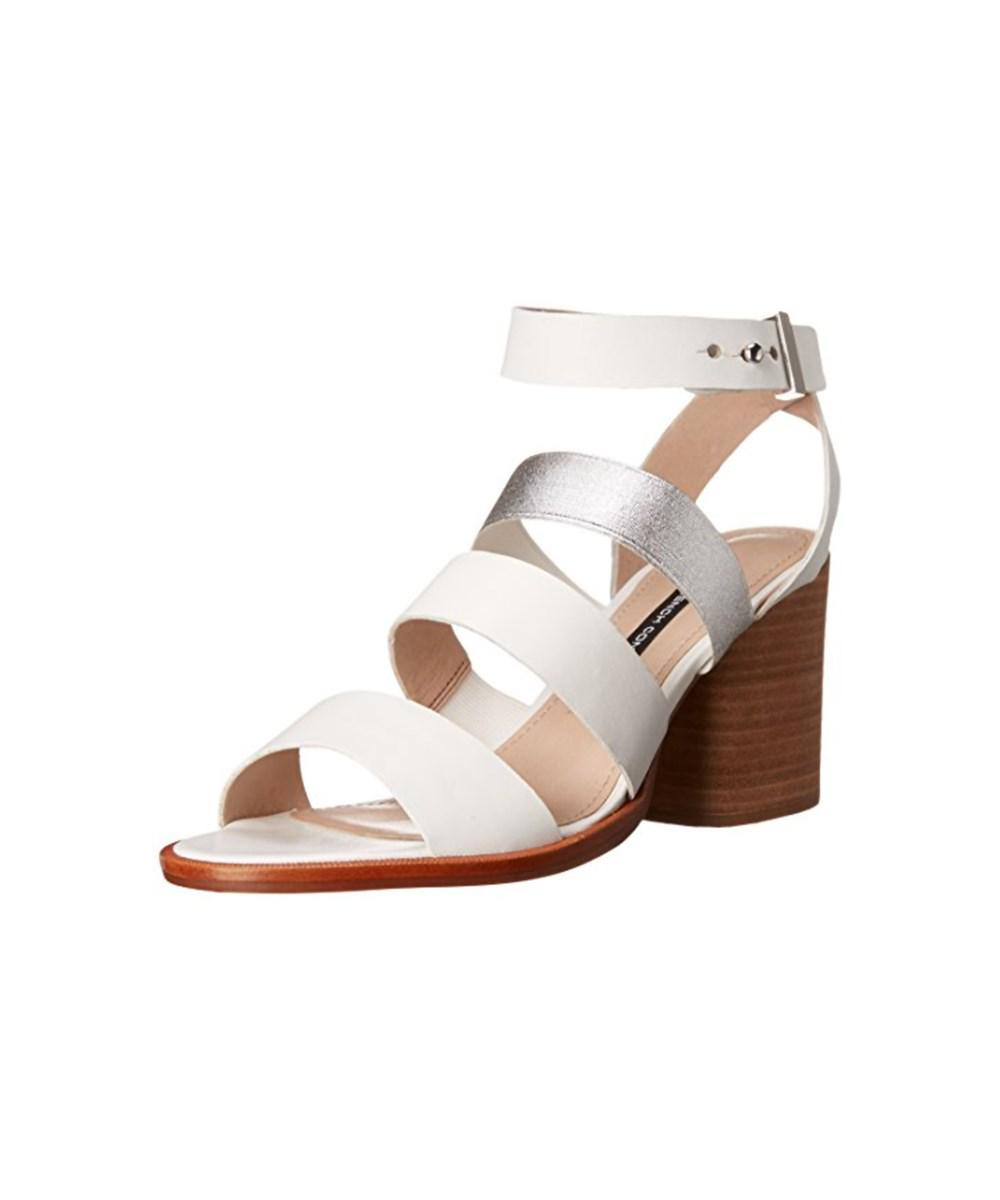 df6f7fe449e French Connection. White Womens Ciara Leather Open Toe Casual Ankle Strap  Sandals