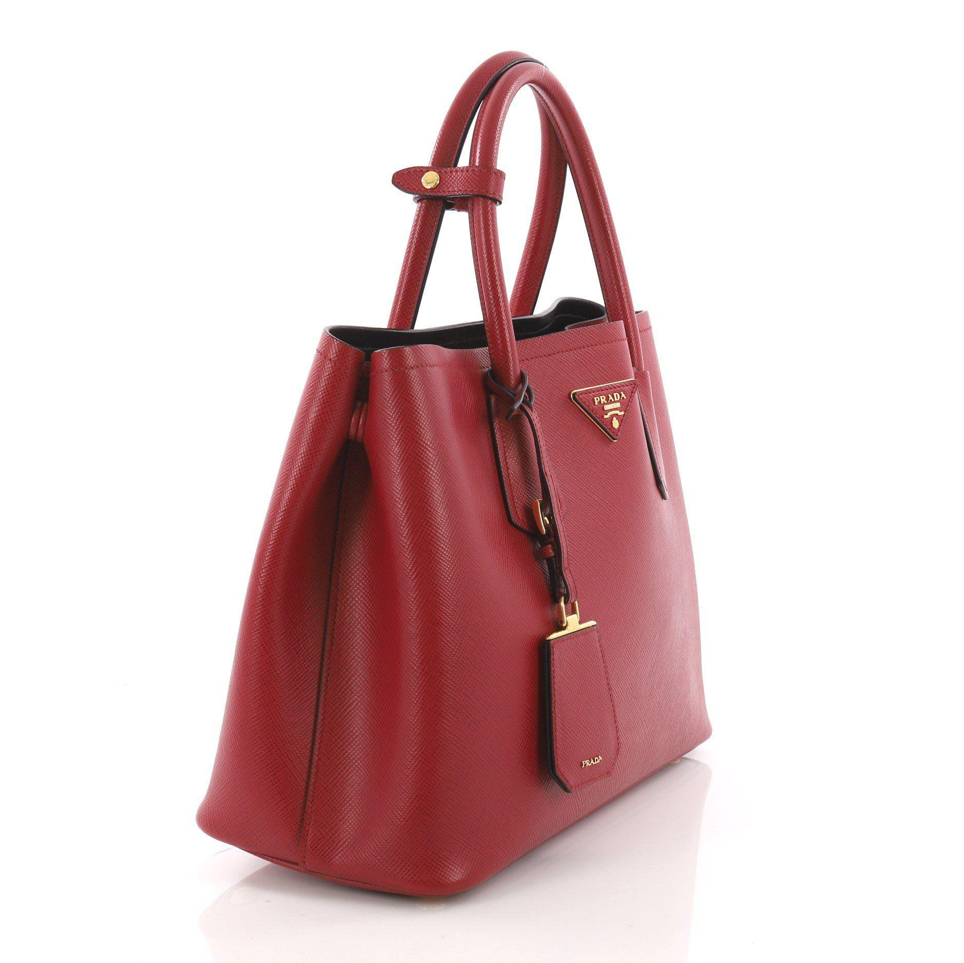 24efe66f3f53 Prada - Red Pre Owned Cuir Double Tote Saffiano Leather Small - Lyst. View  fullscreen