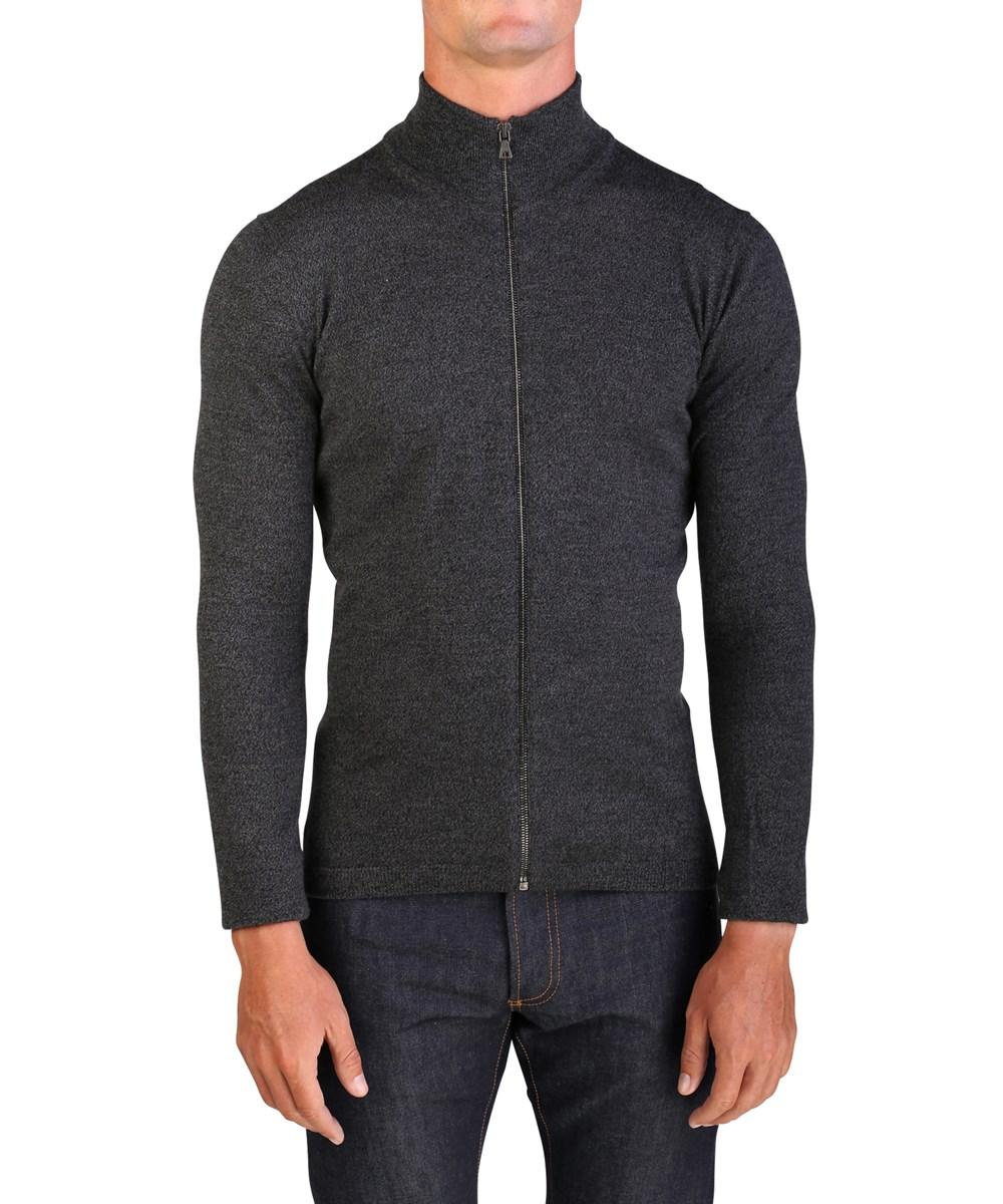 Prada Men's Wool Zip Up Turtleneck Sweater in Gray for Men | Lyst