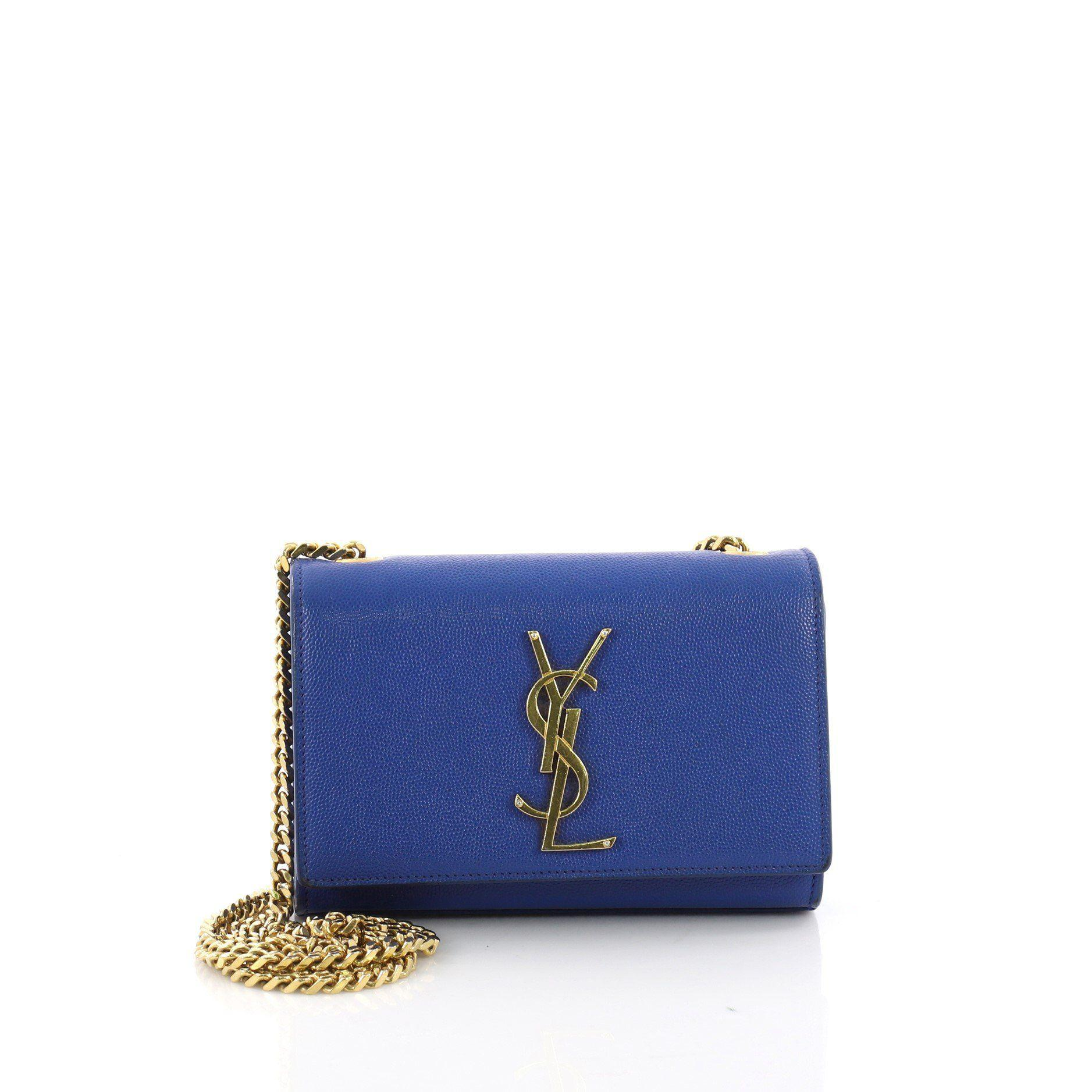 38c53dce05bd Saint Laurent. Women s Blue Pre Owned Classic Monogram Crossbody Bag Grainy  Leather Small