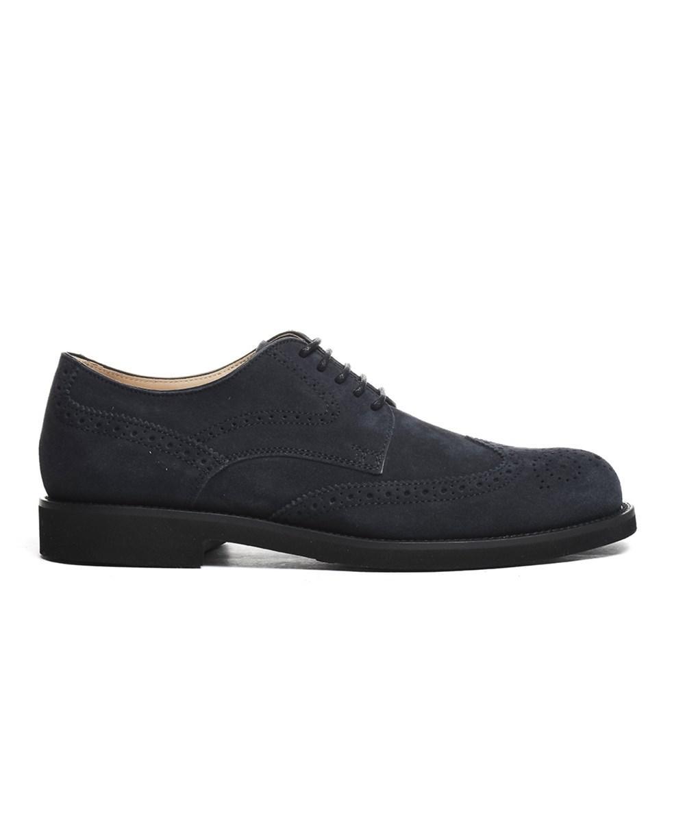 Tod's. Men's Blue Suede Lace-up Shoes