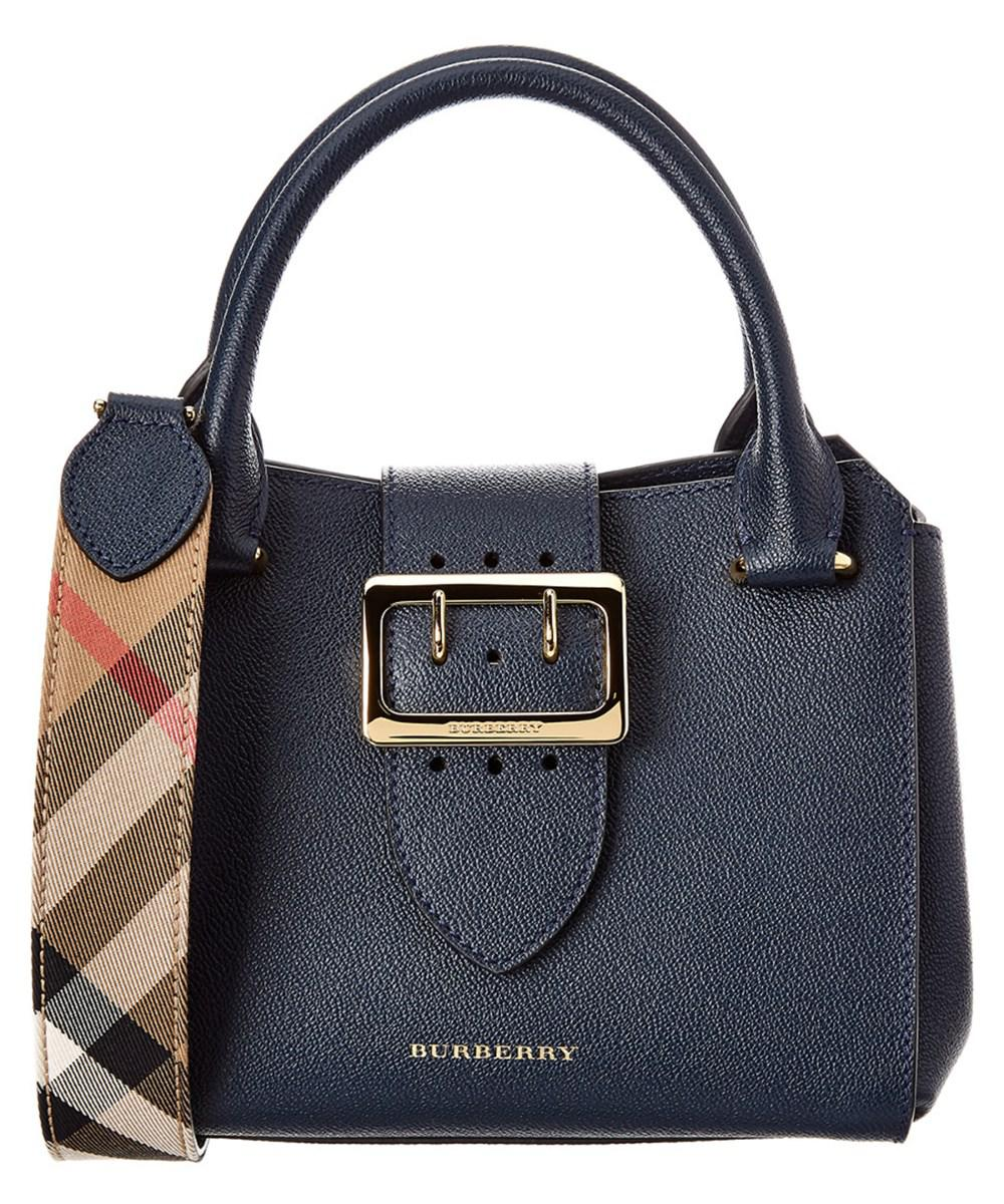 Lyst - Burberry Small Leather Buckle Tote in Blue bdff0a46ab1cc