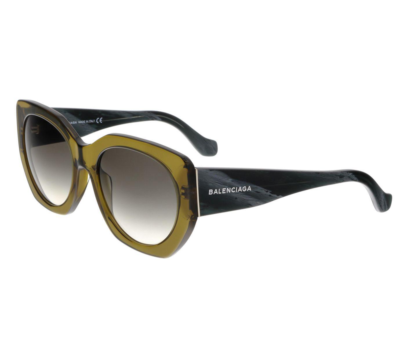 3b06a39e1a0a Lyst - Balenciaga Ba0017 96b Olive Green black Horn Full-rim Cat Eye ...