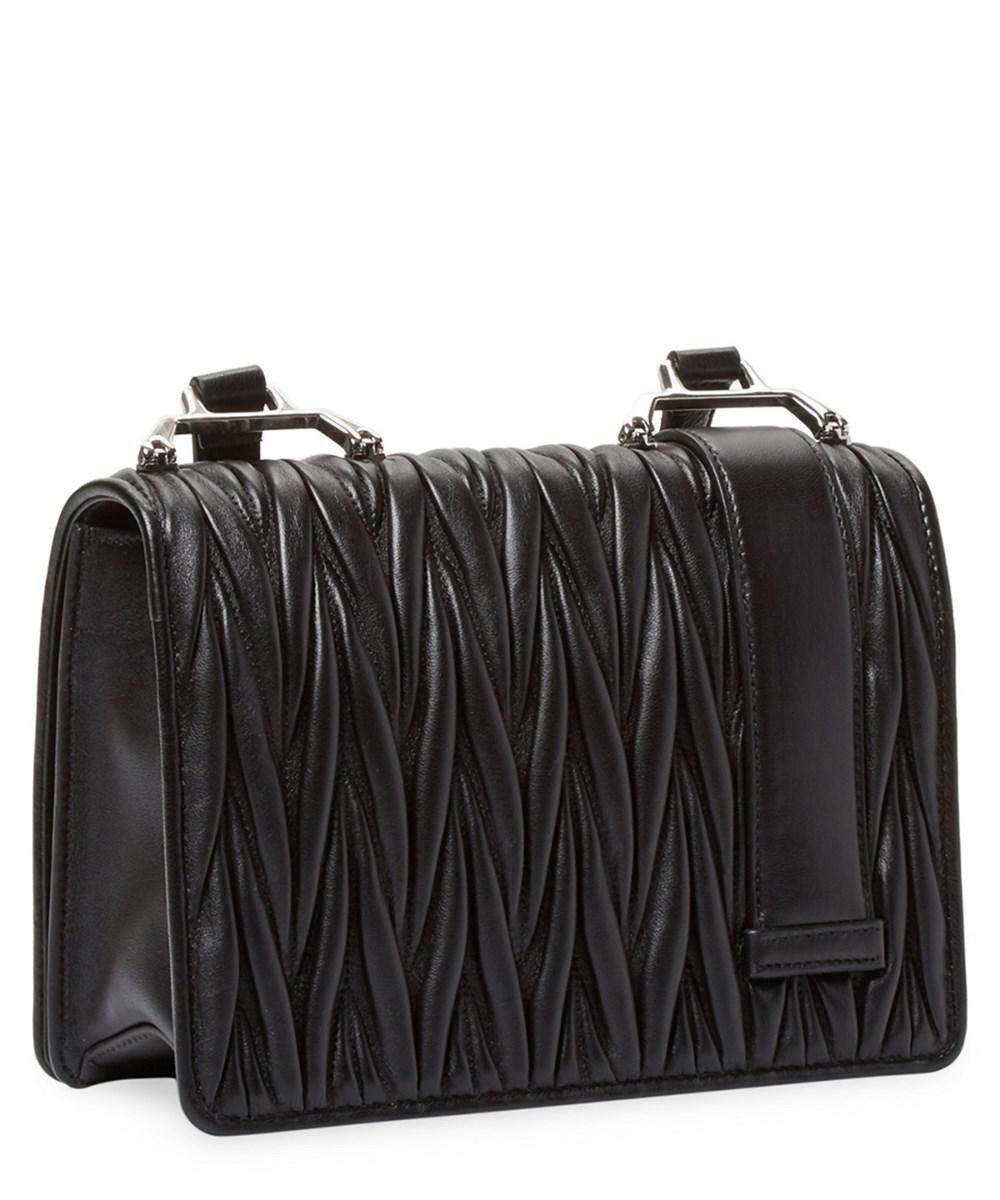 aeea42c29edd Lyst - Miu Miu Embellished Matelasse Leather Crossbody Bag in Black