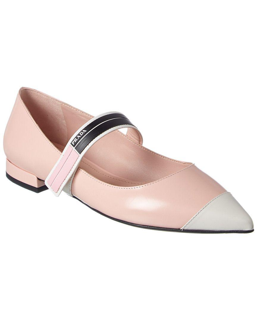 a4681ccf478d Prada - Pink Bicolor Brushed Ballerinas Calf Leather Orchidea talco - Lyst.  View fullscreen