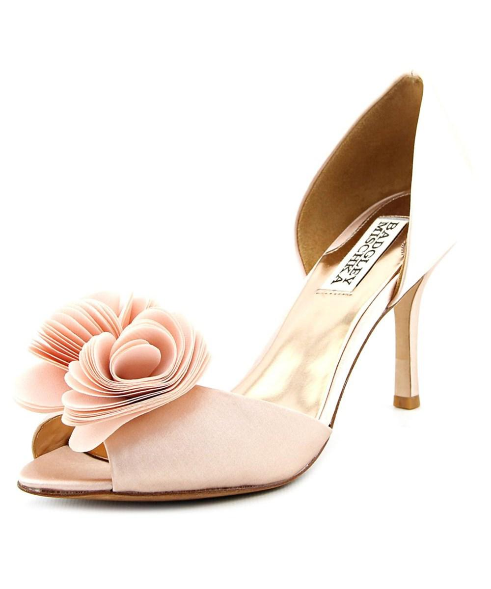 73a614e704d7 Lyst - Badgley Mischka Thora W Peep-toe Canvas Heels in Pink