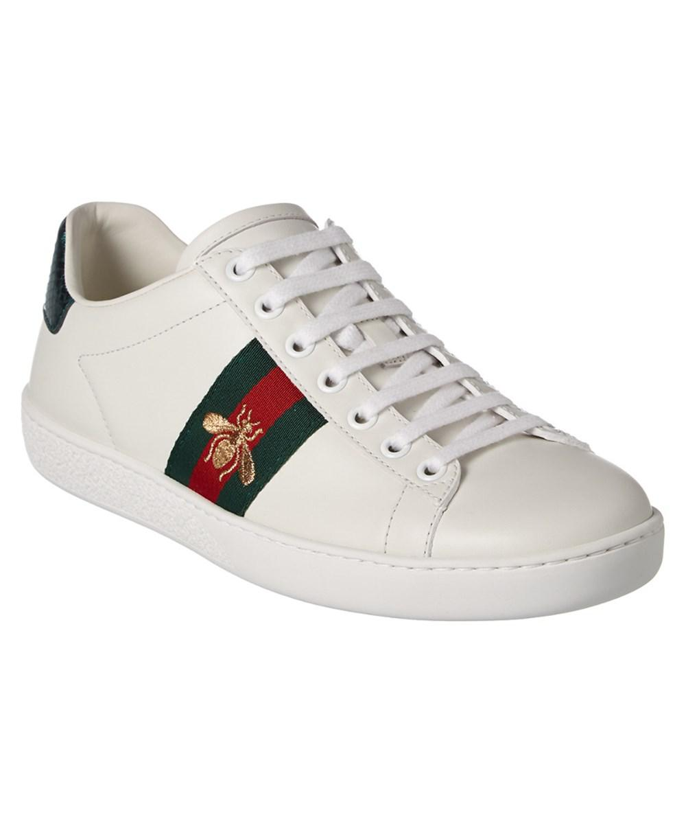 34cc60371aa Lyst - Gucci Ace Embroidered Low-top Leather Sneaker in White for Men