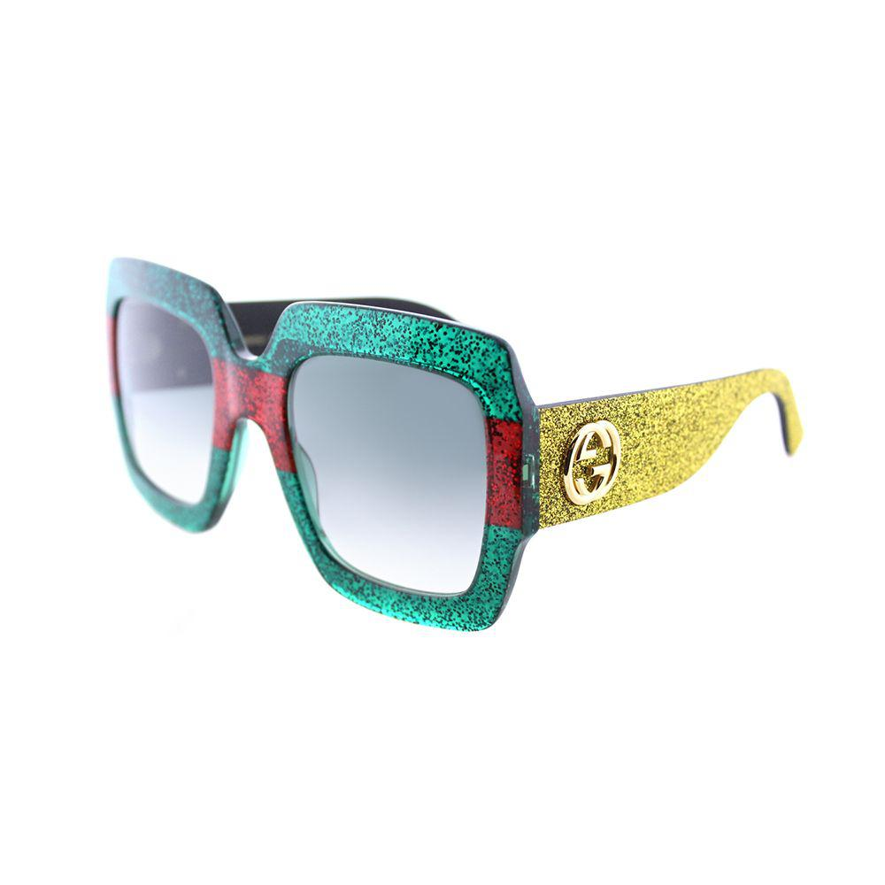 6e4741eff1344 Lyst - Gucci Gg 0102s 006 Green Red Glitter Square Sunglasses in Green