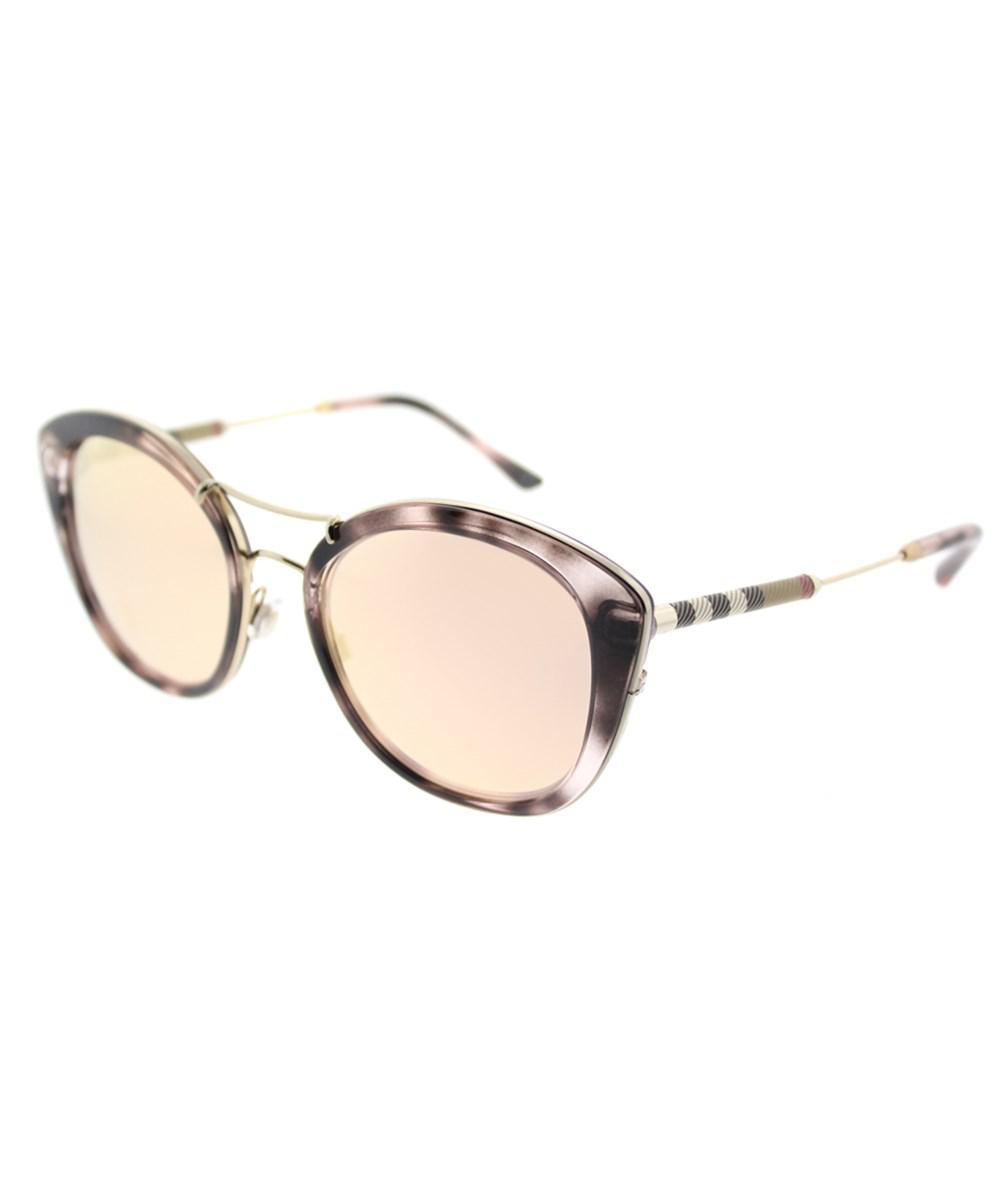 6fafa7c4cc81 Lyst - Burberry Be 4251q 36637j Pink Havana Round Sunglasses in Pink