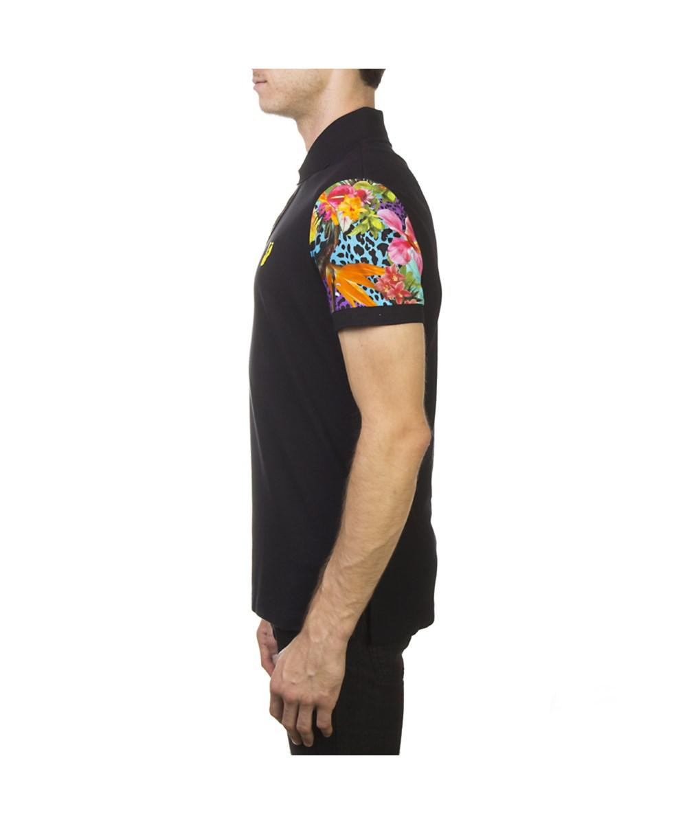 a88fe781 Versace - Jeans Couture Pima Cotton Floral Sleeve Polo Shirt Black for Men  - Lyst. View fullscreen