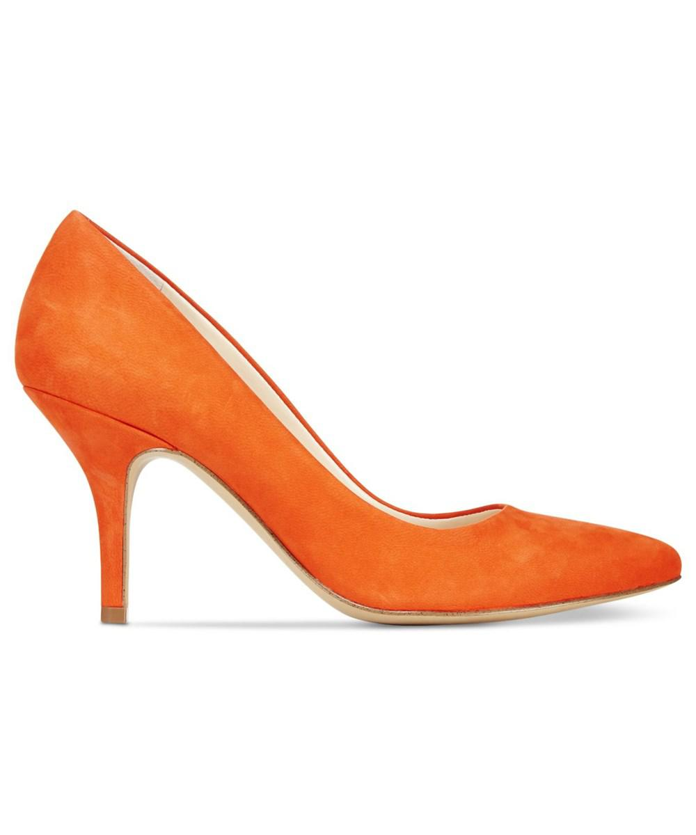 d32d806ad36f INC International Concepts. Orange Womens Zitah Leather Pointed Toe Classic  Pumps
