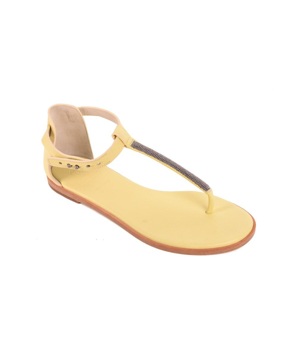 844cc3fb551 Lyst - Brunello Cucinelli Pale Yellow Leather Thong Flat Sandals in ...
