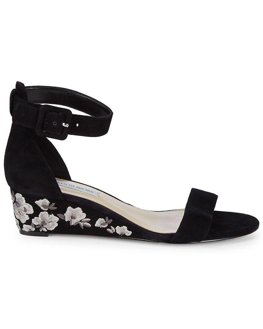 b08a4e8a191 Lyst - Saks Fifth Avenue Katy Floral Wedge Sandal in Black