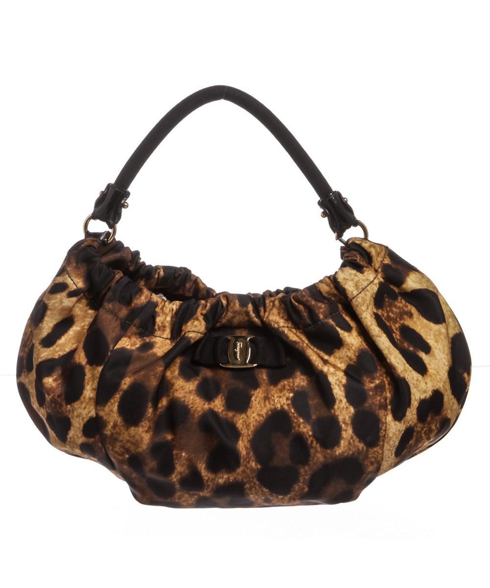 d3168a486477 Lyst - Ferragamo Animal Print Nylon Hobo Shoulder Bag in Brown