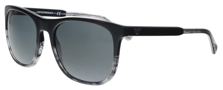 Emporio Armani. Men s Ea4099 556687 Black  Striped Grey Rectangle Sunglasses de50e7f18c