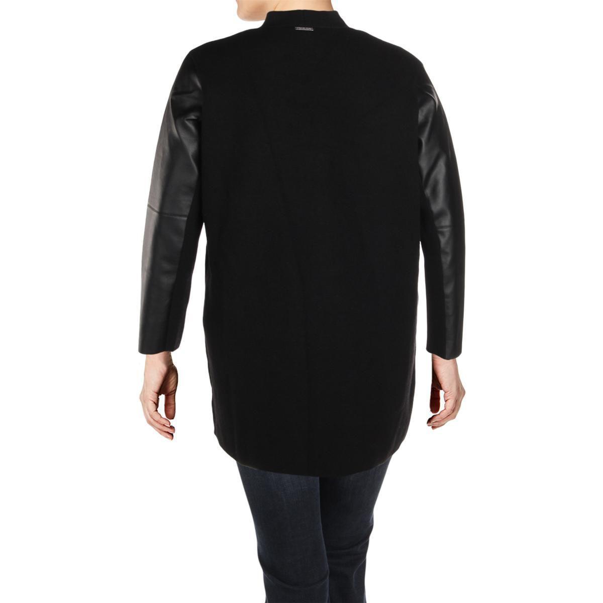 4e24730cf Lyst - Michael Michael Kors Womens Plus Coatigan Wool Faux Leather ...