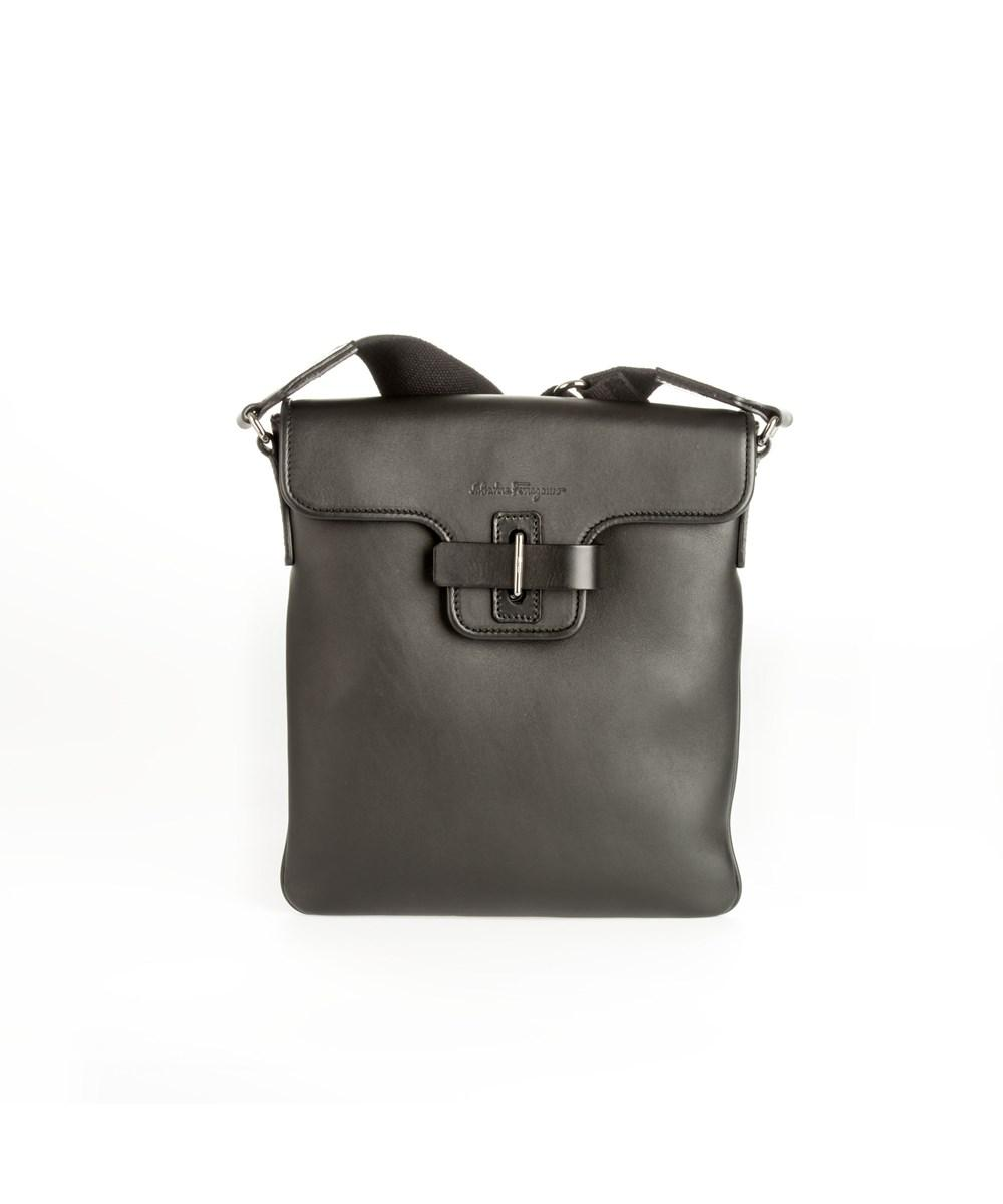 Lyst - Ferragamo Men s Black Leather Messenger Bag in Black for Men c0ce9c24c53f8
