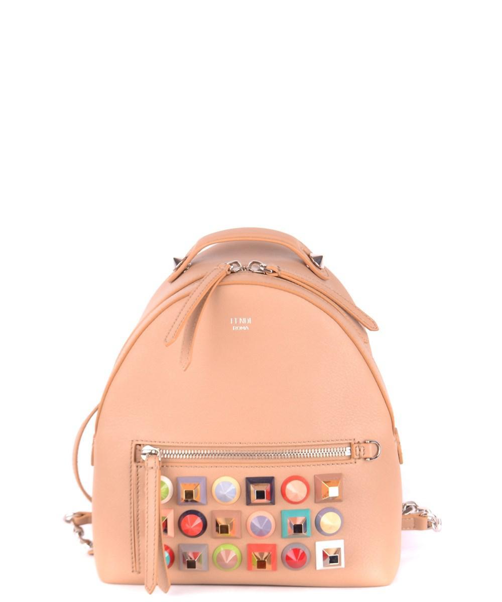 c6261f118b1b Lyst - Fendi Women s Beige Leather Backpack in Brown