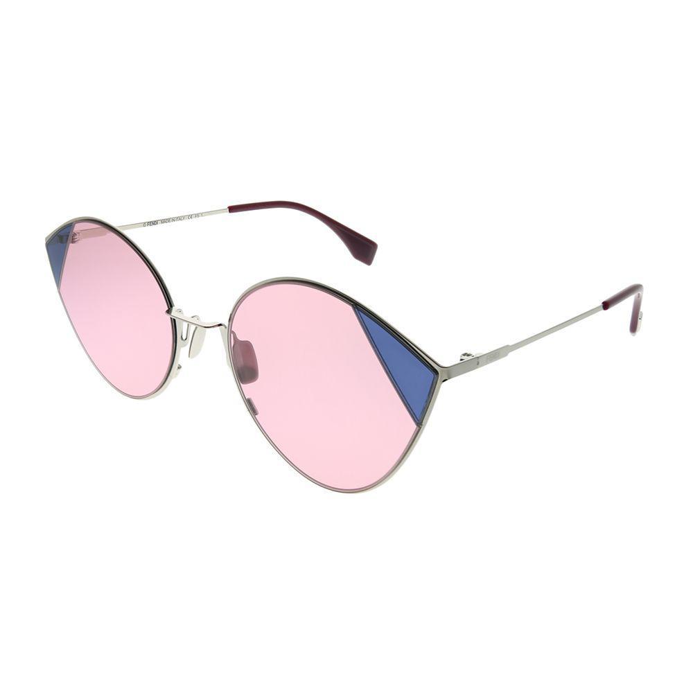 8032eedc78cb Lyst - Fendi Cut-eye Ff 0341 Avb U1 Silver Pink Cat-eye Sunglasses