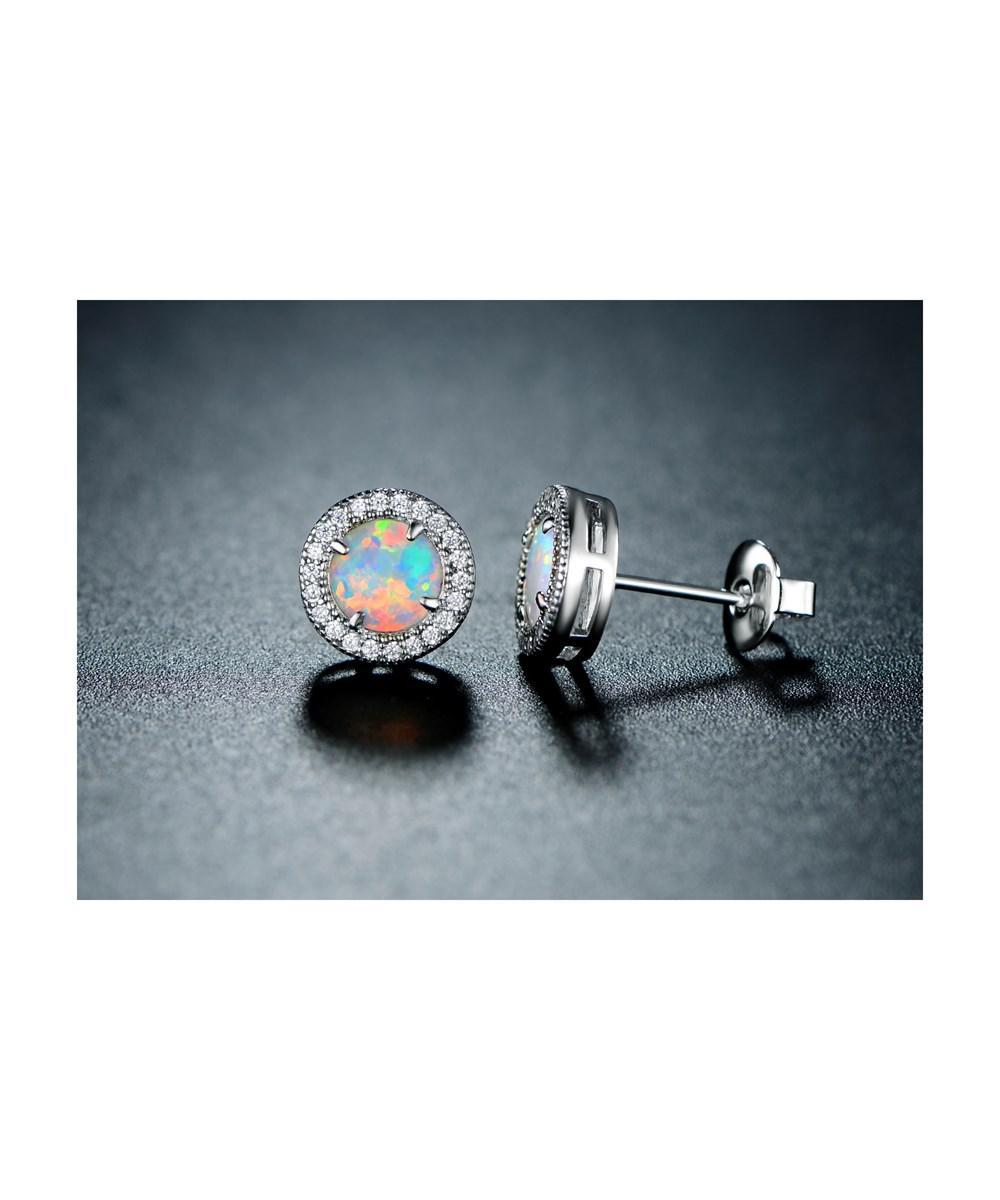 Rmont Women S Metallic 18k White Gold Plated Fire Opal Cubic Zirconia Stud Earrings