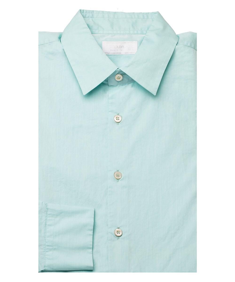 Prada Blue Men S Semi Spread Collar Cotton Dress Shirt Aqua