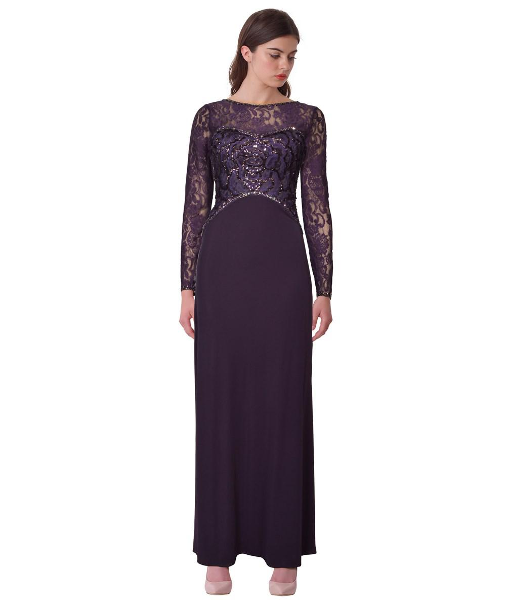 Lyst - Sue Wong Sequined Lace Evening Gown in Purple