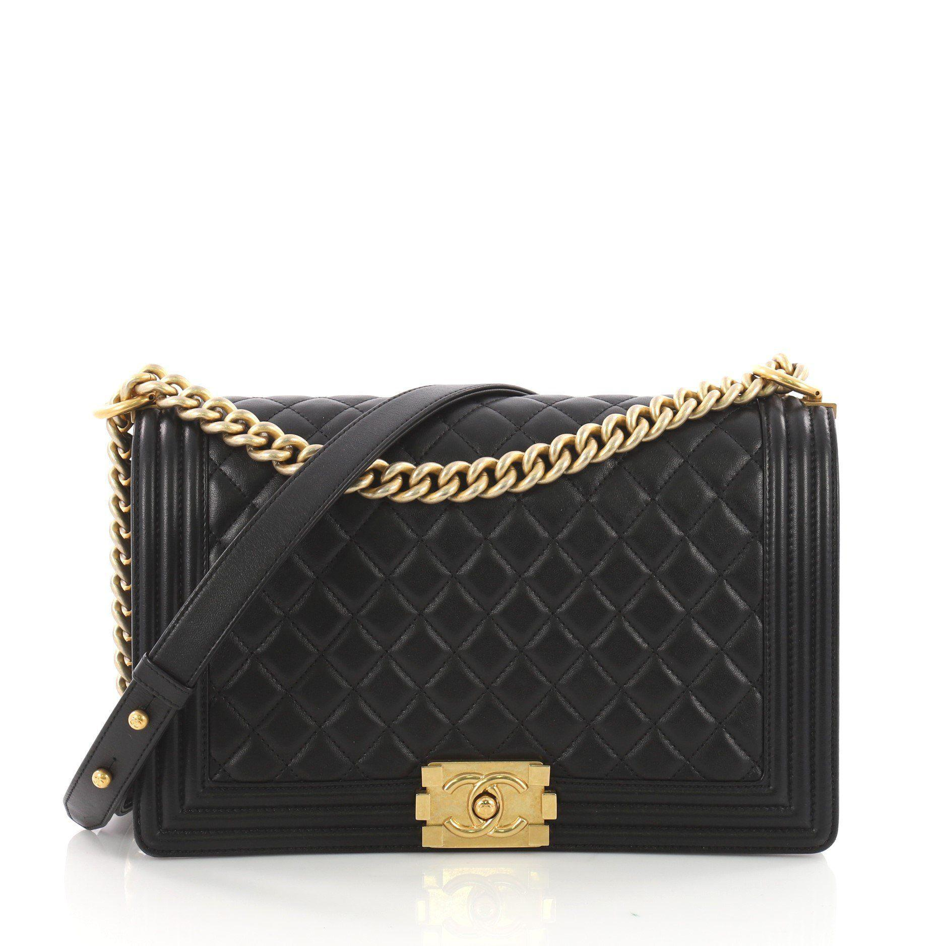 9bf867acc4 Chanel. Women's Black Pre Owned Boy Flap Bag Quilted Calfskin New Medium