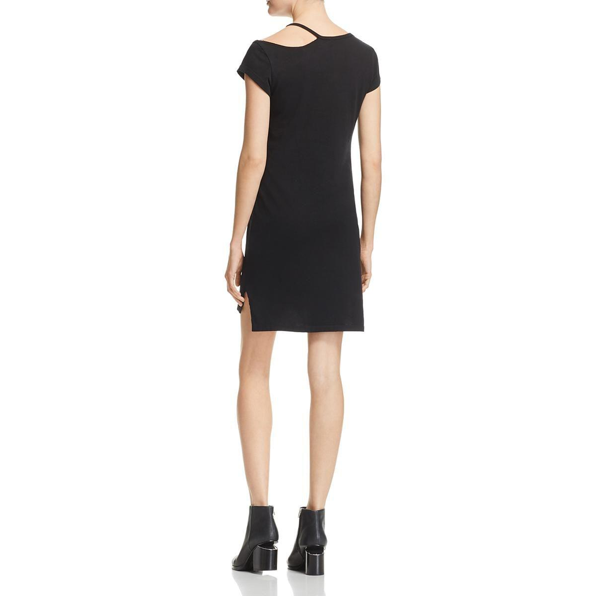 Lyst Pam Gela Womens Off The Shoulder Cut Out T Shirt Dress In Black