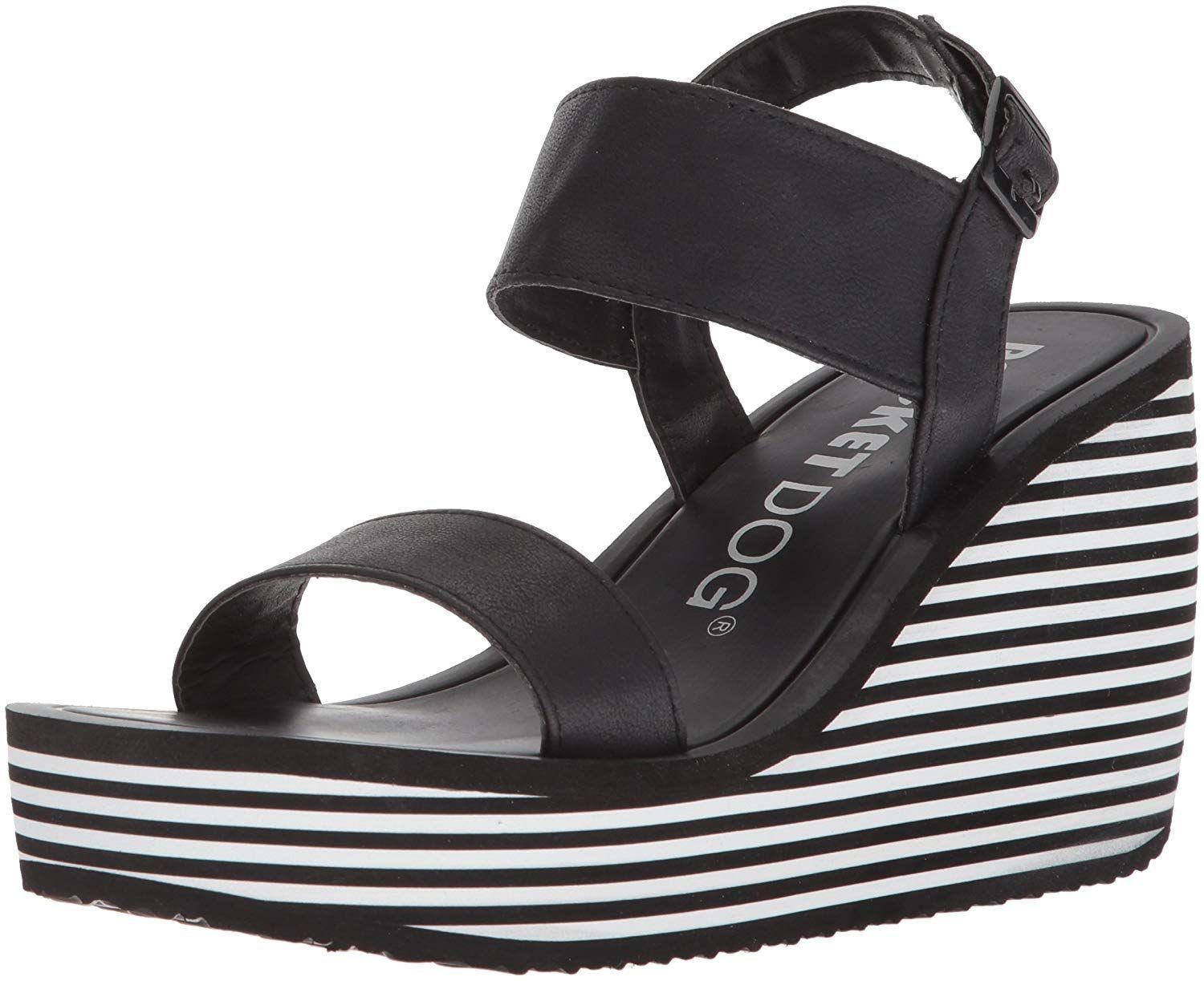 8bcf9b4c252 Rocket Dog. Black Women s Tampico Lewis Pu W striped Eva Wedge Sandal