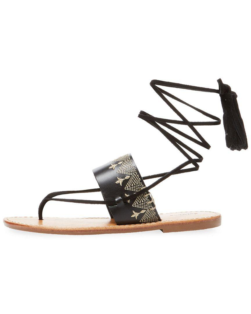 cbbfc5ec68e1 Lyst - Soludos Embroidered Leather Lace-up Sandal in Black - Save  51.282051282051285%