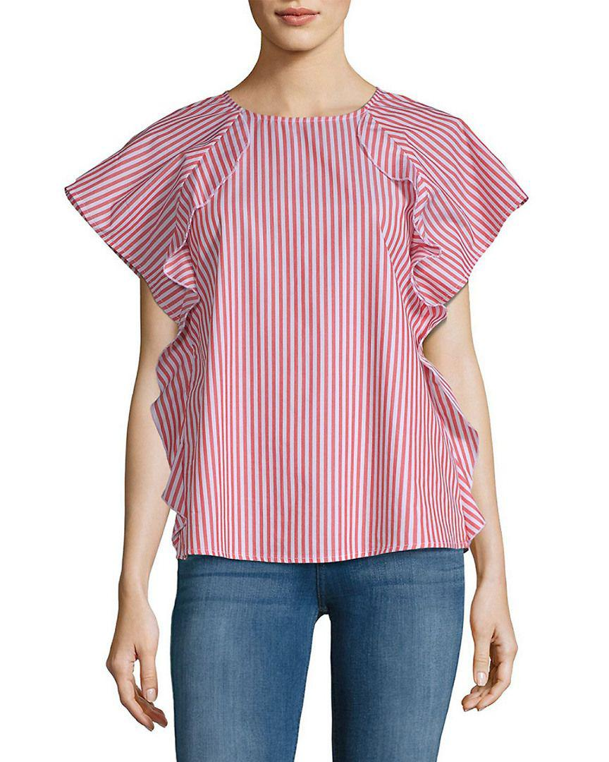 c60f6e905646e Lyst - Saks Fifth Avenue Ruffle Front Poplin Cotton Top in Pink