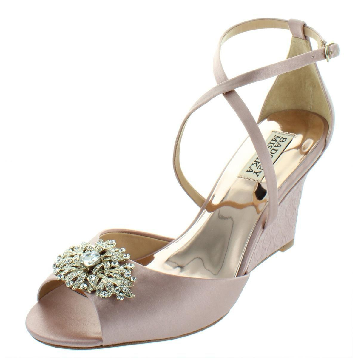 a802b99fd18 Lyst - Badgley Mischka Womens Abigail Satin Embellished Wedge Sandals