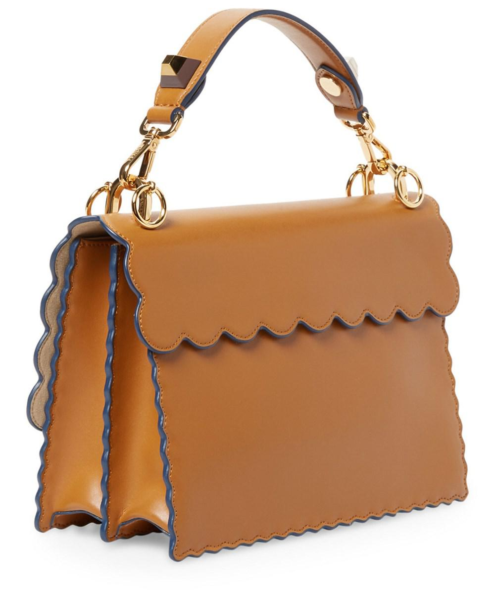 56de786df4f0 Fendi. Women s Kan I Scalloped Leather Satchel