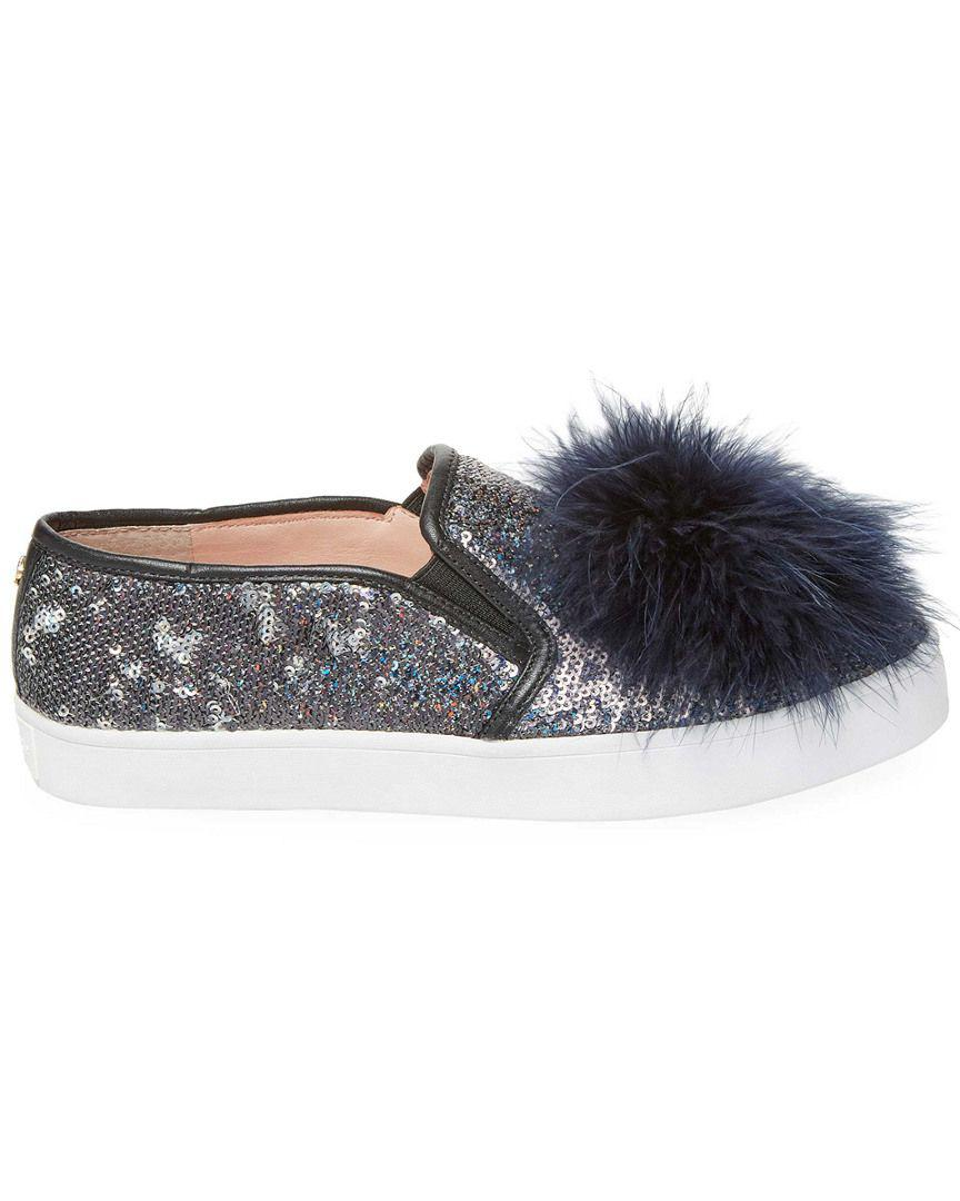 a6454366c5f8 Lyst - Kate Spade Latisa Feather Pom Pom Sneaker in Blue