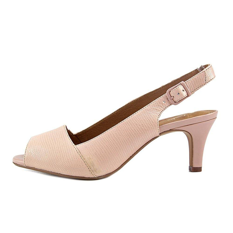 70bbc4e11894 Clarks - Artisan Heavenly Leah Women Peep-toe Canvas Pink Slingback Heel -  Lyst. View fullscreen