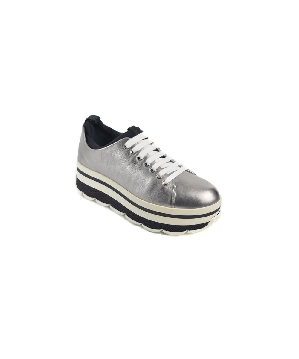 c502bd7770 Prada. Metallic Womens Silver Leather Lace Up Roundtoe Platform Sneakers